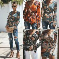 Summer Women Ladies Casual Chiffon T Shirt Floral Print Long Sleeve Blouse Tops