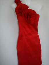 AMAZING PARTY RED MISO WOMENS LADIES ROSES DRESS SIZE 12 (0.3)
