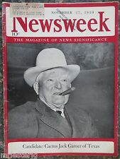 Newsweek Magazine November 27,1939  Cactus Jack Garner of Texas    VINTAGE ADS