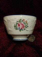 "18th Century Hand Painted Pink Rose Tea Bowl Embossed 3.5"" Dia."