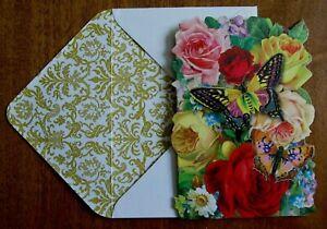 Punch Studio Ephemera Die-Cut Tiny Note Card & Envelope - Flowers & Butterflies