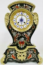 Antique French 8 Day Ebonised Inlaid Boulle & Mother Of Pearl Mantle Clock