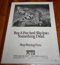Vintage PETA Animal Rights Activist Vegan STOP BUYING FUR Anti-Fur POSTER