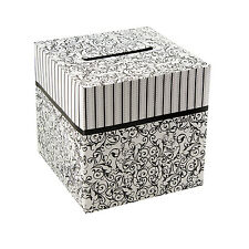 "Black & White Wedding Card Money Gift Box Reception Wishing Well 10""x10"""