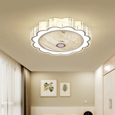 Ceiling Fan With Light Remote Control Crystal LED Ceiling Lamp Dimmable Bedroom