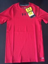 NWT Under Armour Boys Short Sleeve Heat Gear UPF 30+ Fitted Shirt Red sz S