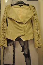 Femmes Motard PU Veste/manteau beige clair Manosque laçage, serrés aux S-M