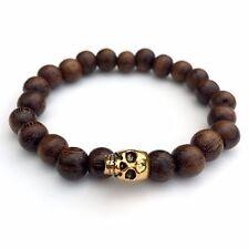 Skull Bracelet Gift for Men Robles Wood Bracelet Wooden Beads Gift for Men