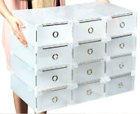 Plastic Clear Shoe Boxes Storage Stackable Drawer Transparent 33*20*12cm Boxes N