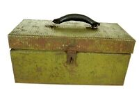 Antique Pioneer Steel Co Metal Storage Tool Box with Leather Handle