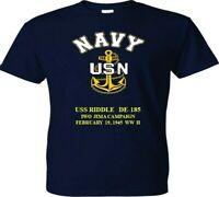 USS RIDDLE  DE-185 IWO JIMA 1945 WW 2VINYL & SILKSCREEN NAVY ANCHOR SHIRT.