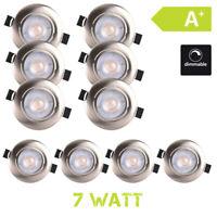 10 X Foco Empotrable Lámpara de Techo LED 7W Regulable Satén Níquel