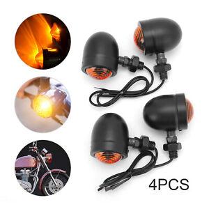 4x Aluminum Motorcycle Indicators Motorbike Turn Signal Lights Bullet Bulb UK