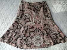 Ann Taylor Skirt 100% Silk Lined Fluted Brown/Red/Pink/Ivory Color Size 2 - EUC