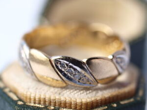 18ct yellow white gold Diamond ring size P1/2  5.20 grams