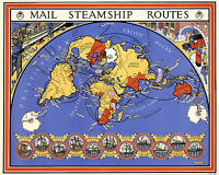 World Map Mail Steamship Routes Postal Maritime History Home School Old Vintage