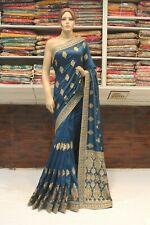 Indian Raw Silk Heavy Pallu Metallic Blue Saree Bollywood Sari Party Wear Dress