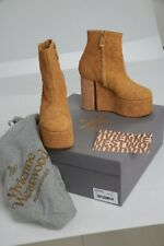 Rare Vivienne Westwood Sand Suede Towering Platform Ankle Boots Women Size 38