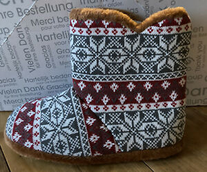 Unbranded Mens Multicolour Printed Boot Slipper • Size L • NEW T74