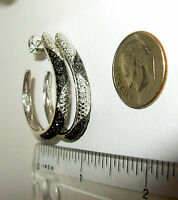 BLACK & WHITE DIAMOND LARGE OVAL EARRINGS RHODIUM STERLING NEW WITH TAGS IN BOX