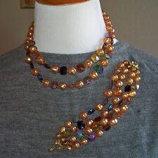 Vintage Amber Bead Necklace & Bracelet Set Signed Marvella