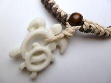 Buffalo Bone White Turtle Pendant Adjustable Cord Necklace # 30192-29 (QTY 2)