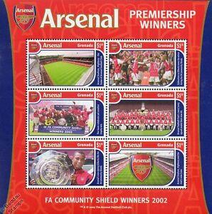 ARSENAL Football Club Stamp Sheet (2002 Grenada) FA Premier League Champions