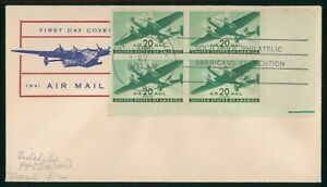 MayfairStamps US FDC Sealed 1941 20 Cents Air Mail Block Plate Fidelity First Da