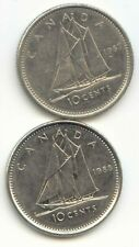 Canada 1987 and 1988 Canadian Dimes Ten Cents 10c 10 c *EXACT* COIN SHOWN