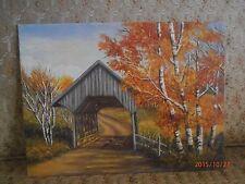 Fine Country Bridge OiL Canvas Board signed Bone 83 16 X 12