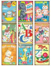 9 Retro Kids Coloring Book Cover Hang Tags Scrapbooking Paper Crafts (355)