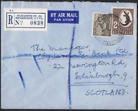 1943 9d platypus + 1948 2/- crocodile on 1956 reg'd airmail cover to the UKTS878