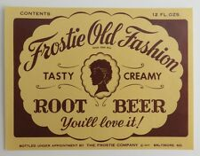 FROSTIE OLD FASHION ROOT BEER BALTIMORE UNUSED LABEL  (INV1505)