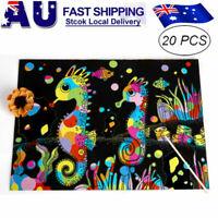 20 Sheets Scratch Paper Creative Art Rainbow Paper Sketch Book+bamboo pen f kids