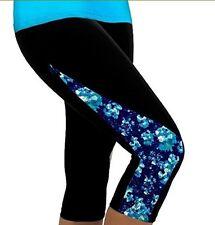 YR.Lover Women's Stitching Color Slim Capri Yoga Pants Sports Leggings XL/ 14-16