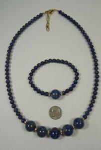 Lee Sands 14mm Lapis Lazuli w Swarovski Crystal Rhondelle Nk & Bl set