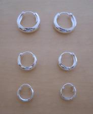 925 Sterling Silver 3 Pairs HOOP Huggie Earrings 14 mm 12 mm & 10 mm Diameter
