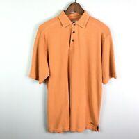 Tommy Bahama Men's Polo Shirt Silk Blend Short Sleeve Orange Size Small Top