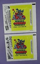 Weird Wheels 1980 Topps Gum Wrappers - Pair of Variations