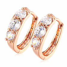 Round Cubic Zirconia Cz Curve Hoop Earrings Pretty New Rose Gold Filled 3 Clear