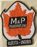 M & P Transport Ltd Alberta Ontario Canada driver patch 4-1/8 X 3-1/2 #3016