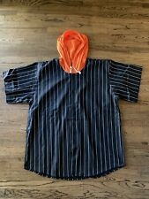 Mens Blank Baseball Jersey Black & White Pinstripes Xl With Orange Hood