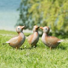 Set of 3 Baby Duck 17cm Metal Garden Ornaments Outdoor Duckling Bird Sculpture