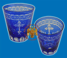 Hand Carved Votive Glass Cups with Cross Blue or Red Romanian Orthodox Design