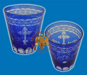 Orthodox Hand Carved Votive Glass Cups With Cross Blue Or Red Romania Ewiglicht