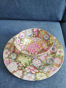 vintage ciotola piatto ceramica orientale cinese decori fiori smalto color oro