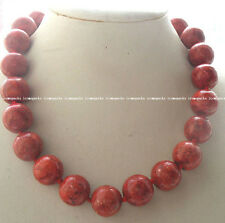 """AMAZING! CORAL grass red round 18mm necklace 18"""" nature wholesale gift"""