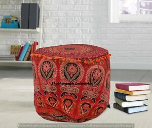 22'' Indian Round Ottoman Pouf Cover Peacock Moroccan Footstool Pouffe Sham Case