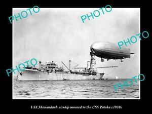 OLD LARGE HISTORICAL PHOTO OF NAVY USS SHENANDOAH AIRSHIP WITH USS PATOKA c1930s