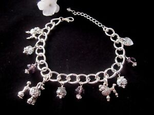 Poodle Dog Charm Bracelet with Purple & Silver & Crystals